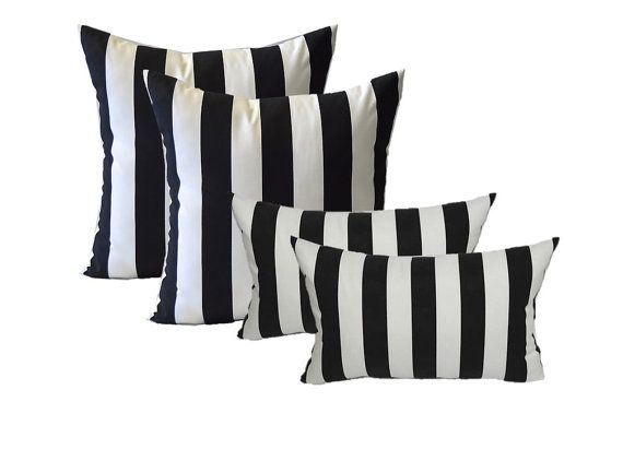 Set Of 4 Indoor Outdoor 20 Square Rectangle Etsy In 2020 Striped Outdoor Pillow Rectangle Pillow Outdoor Decorative Pillows