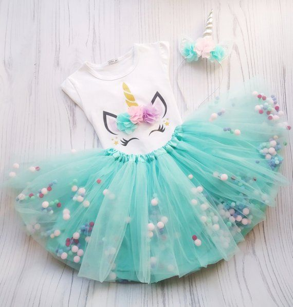 1590aa4c4 Unicorn Tutu Outfit For 1st Birthday, Mint Unicorn Pom Pom Tutu Skirt, Tutu  Outfit