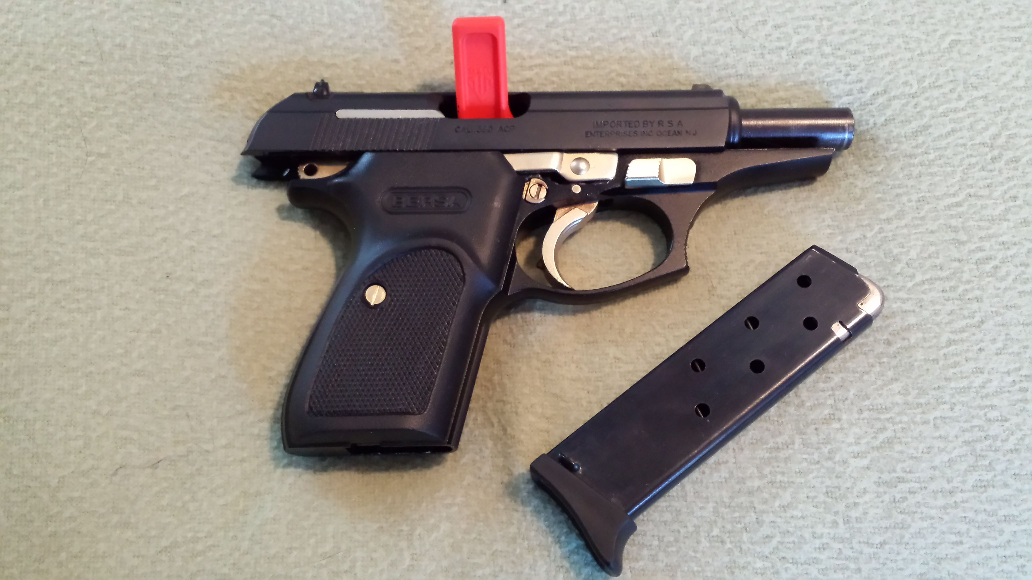 Heres Our Bersa Thunder Black And Gold Showing Unloaded Magazine