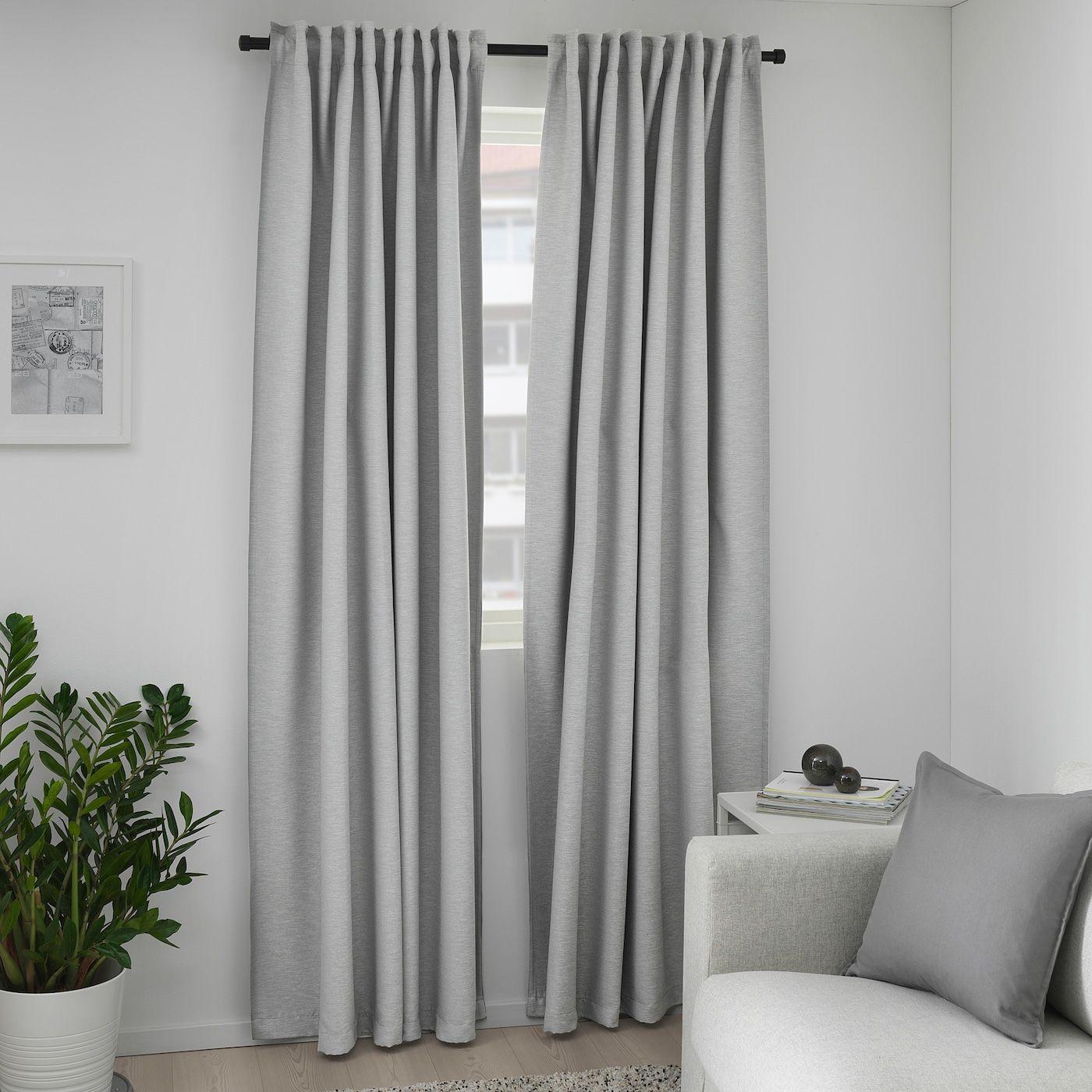 Vilborg Room Darkening Curtains 1 Pair Grey In 2020 Curtains