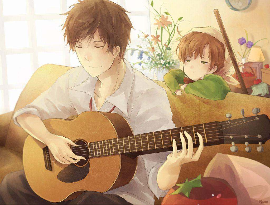Aph Listening By Mano Chan On Deviantart Hetalia Anime Anime Music Anime boy with guitar wallpaper