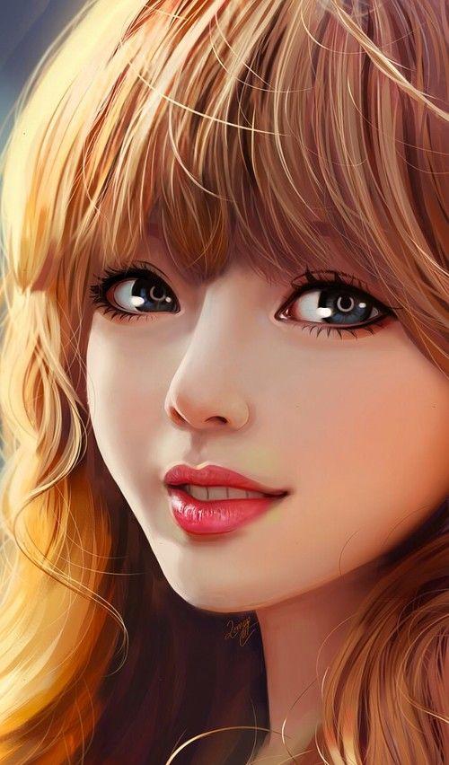 Digital Painting Inspiration 017 Art Japanese Cute Woman Girly Art Cute Girl Drawing Portrait Girl