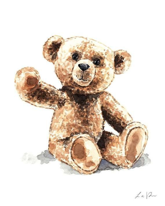 Teddy Bear 2 Art Print Watercolor Wall Decor Home Brown Bear Nursery Kus art