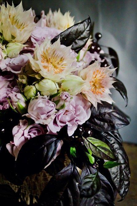 Unusual-Dark-Black-Lavender-Protea-Blushing-Bride-Berry-Centerpiece ...