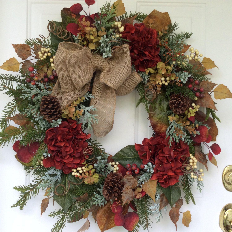 Tomber la couronne de la couronne hiver automne decor for Decoration porte hiver