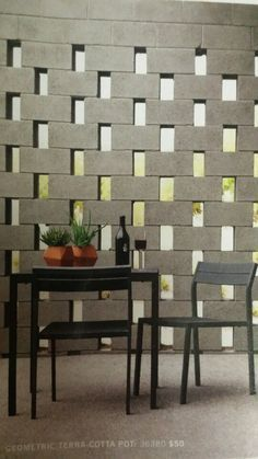 cinder block privacy wall with gaps spaces - Google Search   DIY ...
