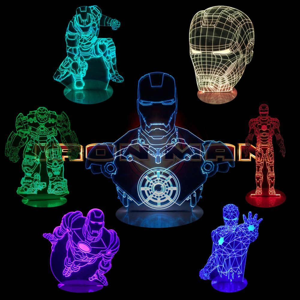 Don T Be Shy Treat Yourself 1piece Marvel Superhero Tony Stark Iron Man Table Light 3d Vision Illusion Desk Lamp Color Changing L Luminarias Led Led Acrilico