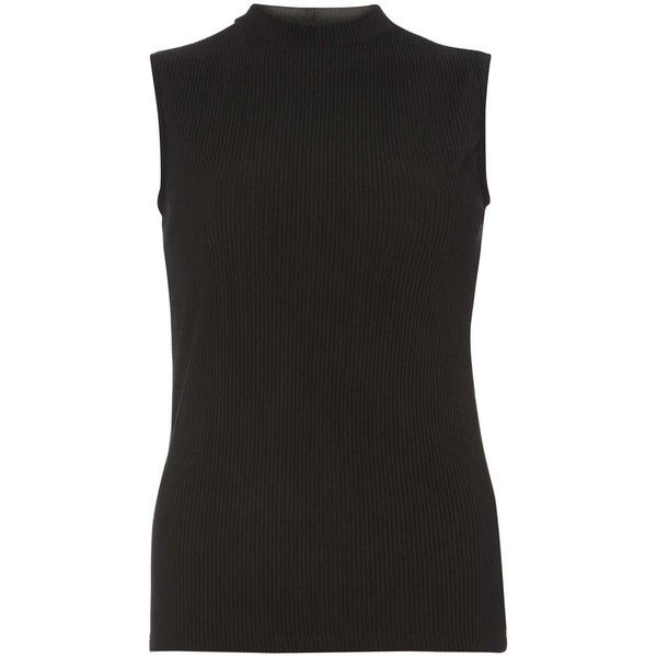 Dorothy Perkins Black crinkle mock neck top (25 AUD) ❤ liked on Polyvore featuring tops, black, mock neck top, keyhole top, dorothy perkins, crinkle top and sleeveless tops