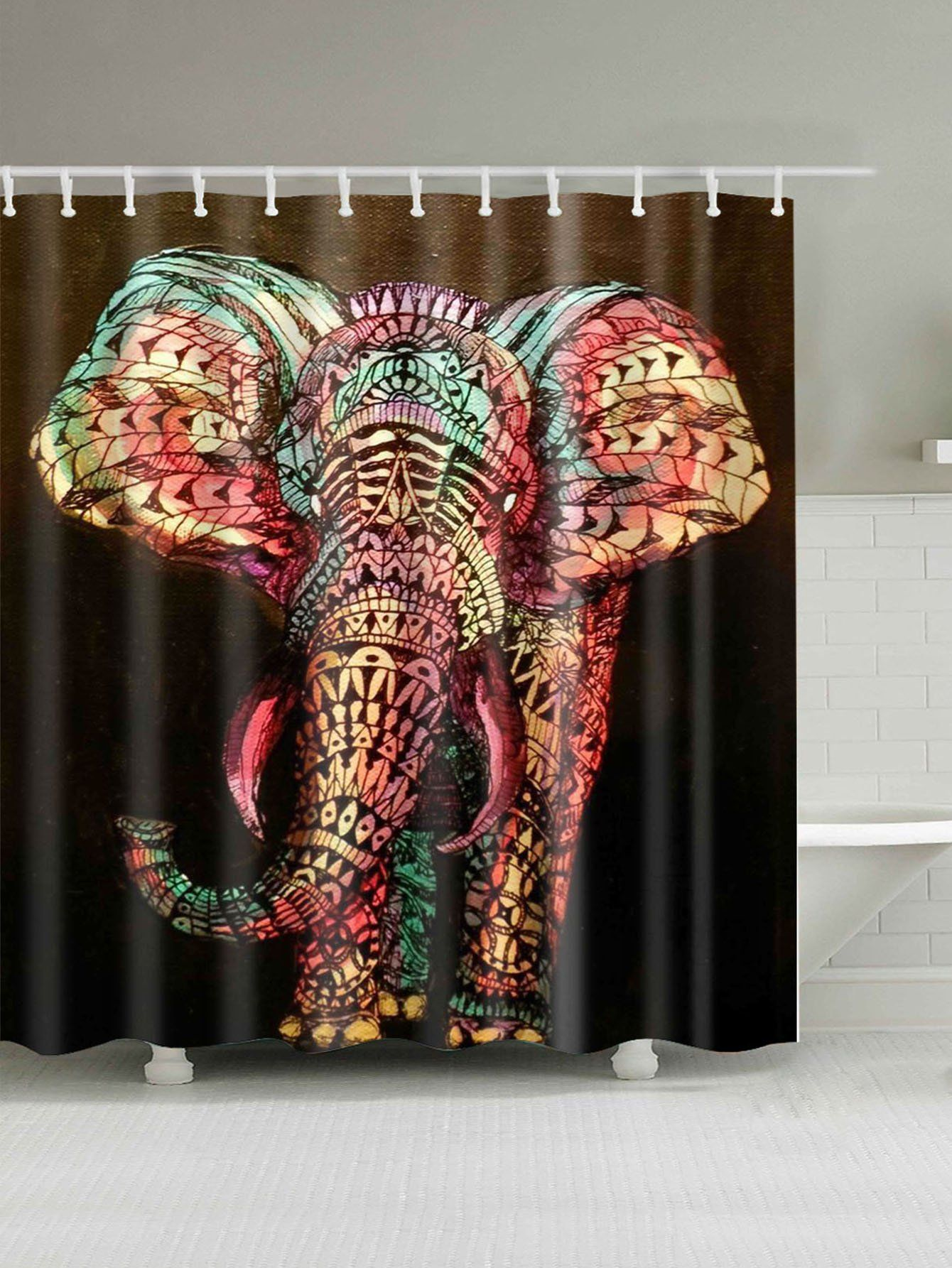 Elephant Shower Curtain With Hook 12pcsfor Women Romwe Elephant