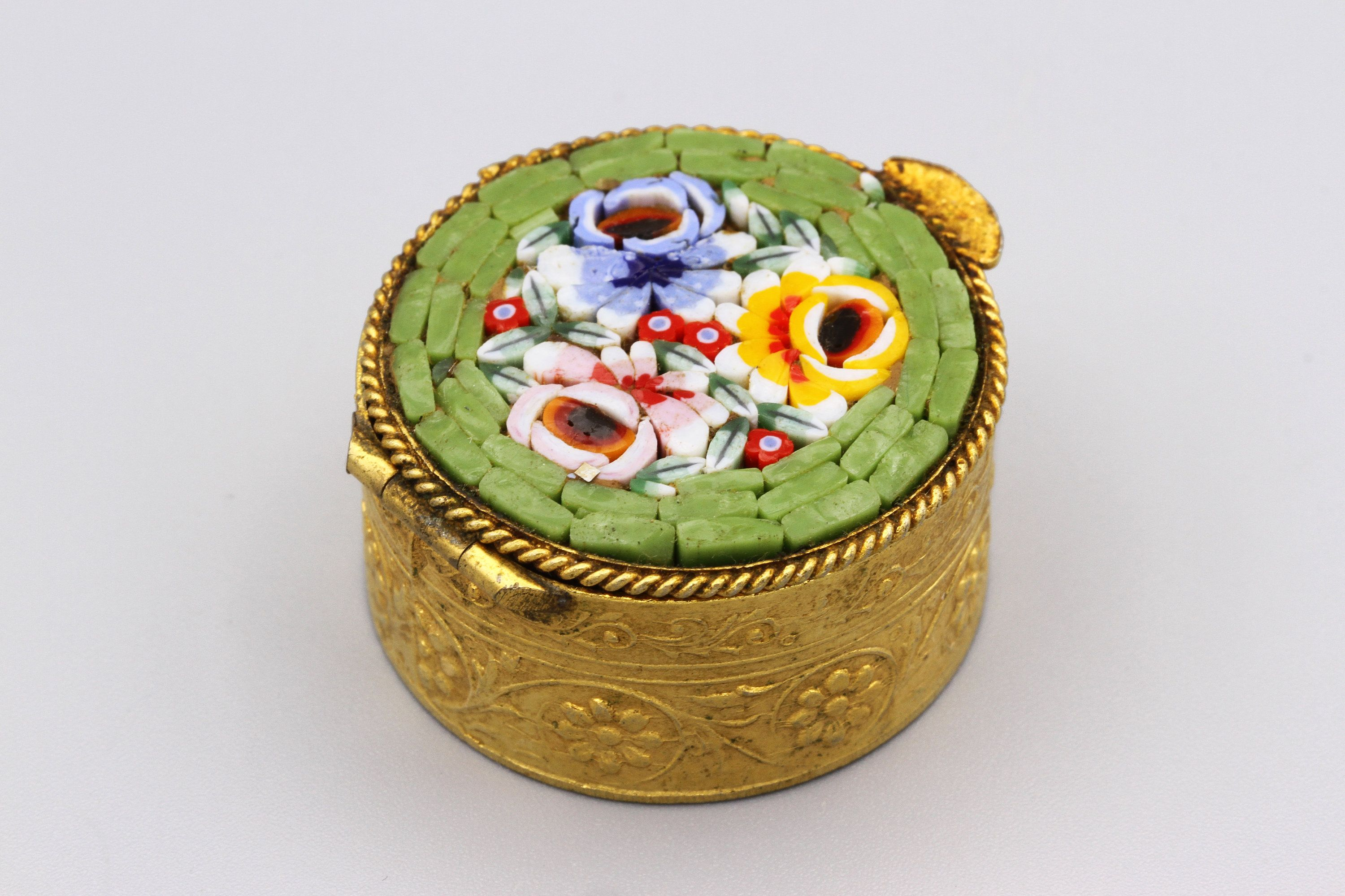 Chinese snuff pill box Vintage Enamel Trinket Box with Floral Embroidered Top perfect for a ring  gift!