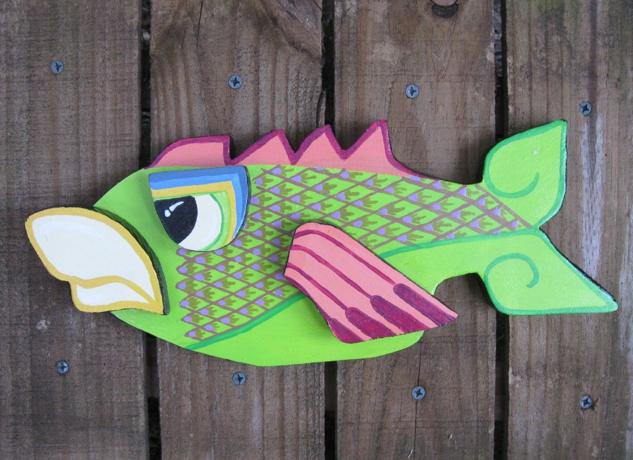 Crazy Cool PAINTED Wood FISH Sculpture, Wall Hanging Plaque, Wall Decor,  Outside Decor