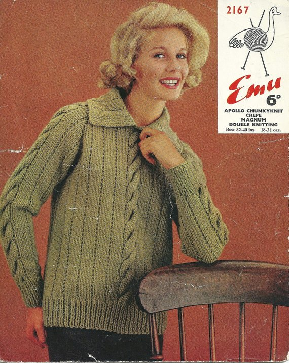 1fcb26267 Emu 2167 Vintage Knitting Pattern Original Sweater with Bulky Cables and  Collar for Women 32