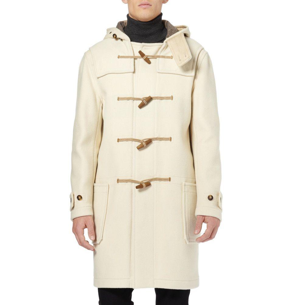 Cream Mens Duffle Coat | Burberry Brit Wool-Blend Duffel Coat | On ...