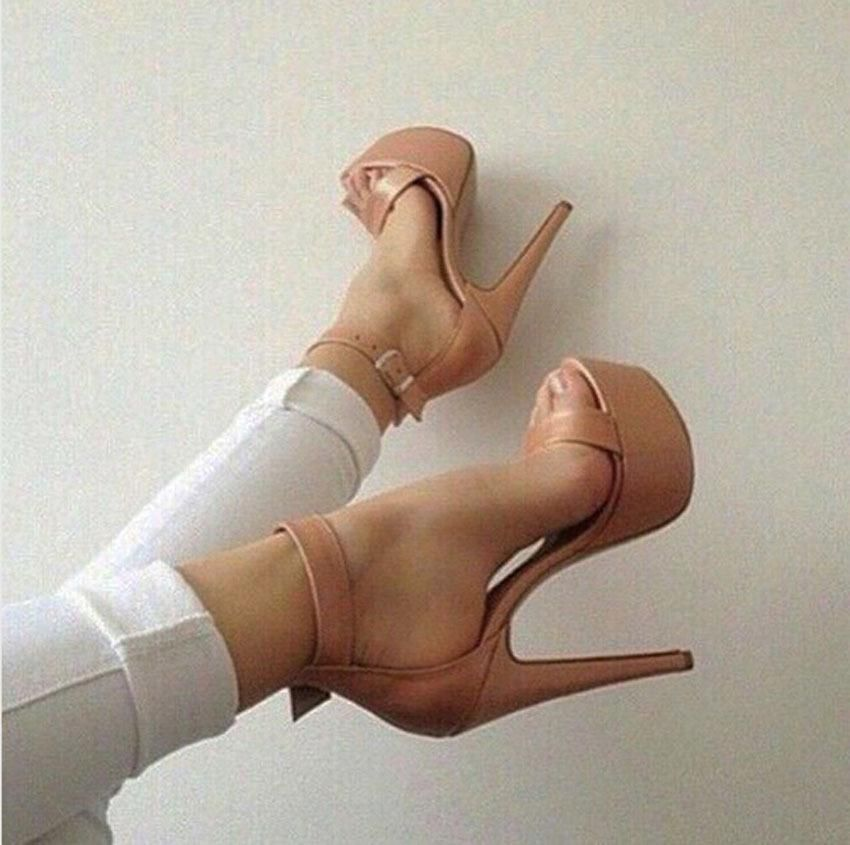8ed7add5157 New Summer Fashion Nude Color High Heel Platform Sandals Cover Heel Design  Ankle Buckles Sandals Open Toe Dress Shoes