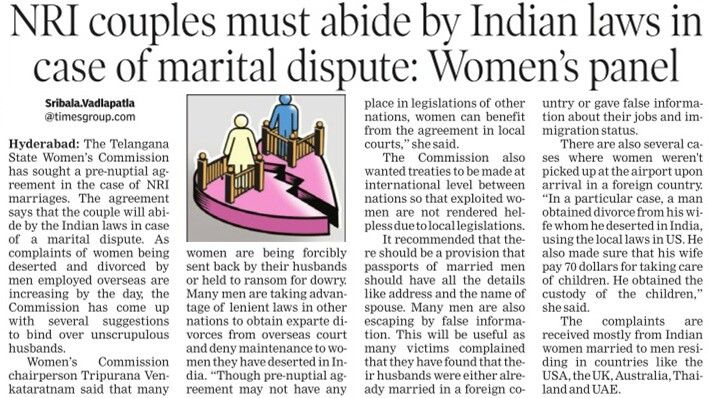 Telangana State WomenS Commission Has Sought A PreNuptial