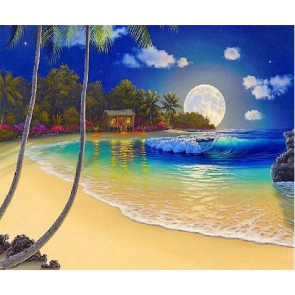2fa8ce84e Beach in the Moonlight, DIY Diamond Painting Kit Beautiful Moon, Painting  Prints, Canvas
