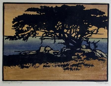 William Seltzer Rice (1873-1963) - Evening, Carmel Bay. Woodblock Print. Circa 1917.
