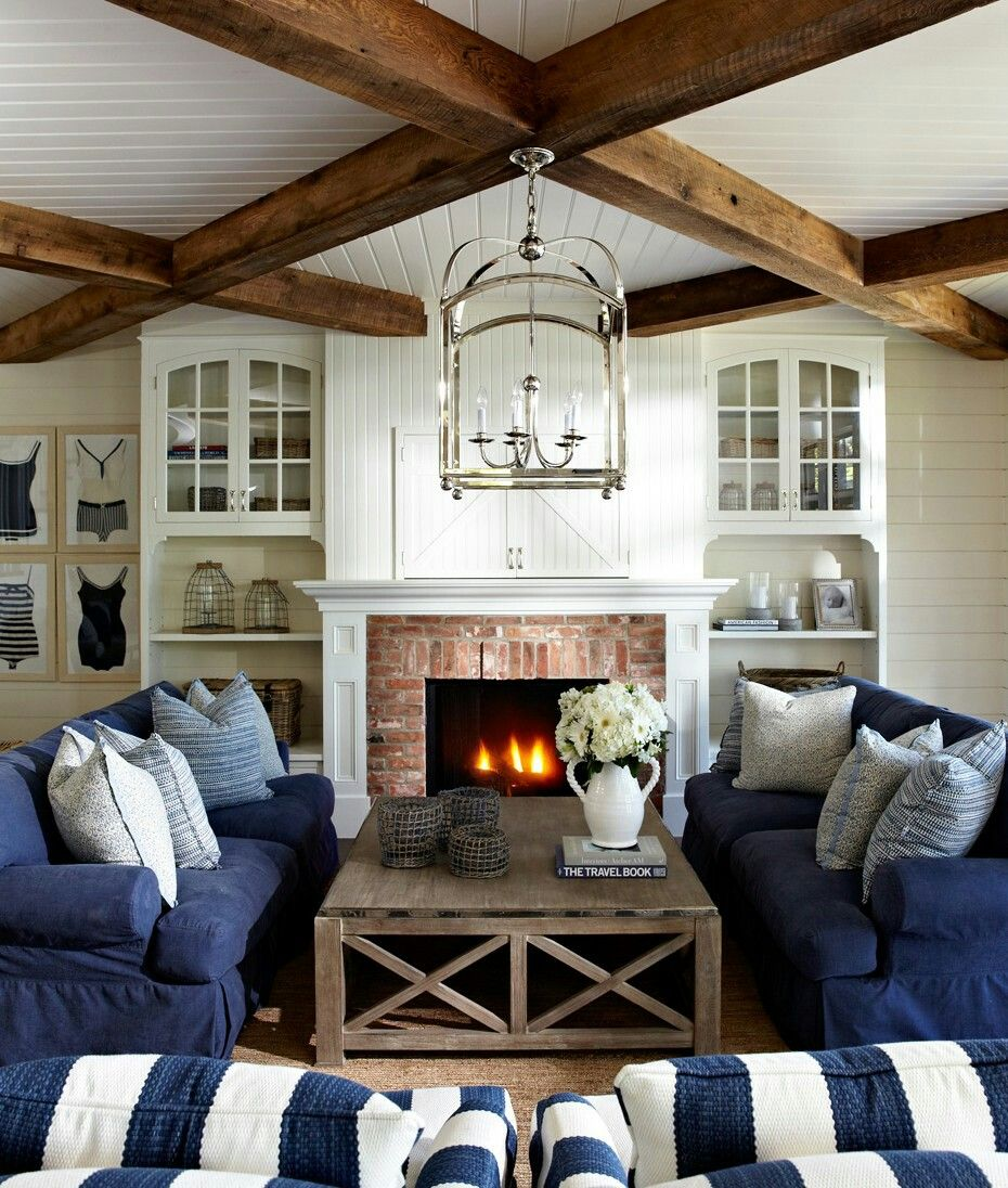 Coastal Cottage Living Room Furniture 2: That Ceiling And Navy Furniture!