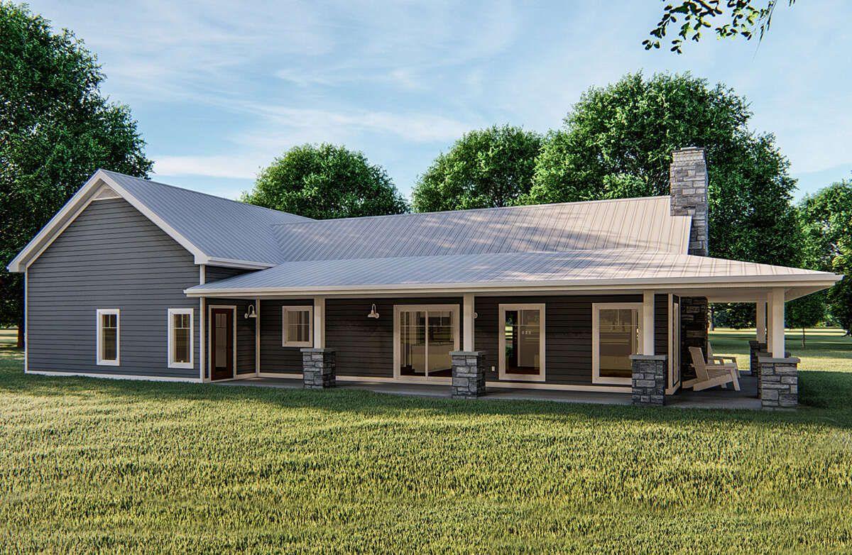 House Plan 963 00386 Farmhouse Plan 1 366 Square Feet 1 Bedroom 1 5 Bathrooms In 2021 Metal House Plans House Plans Farmhouse Barn House Plans