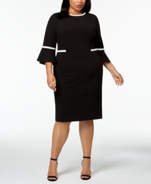 86ea6abc131 Calvin Klein Plus Size Piped Bell-Sleeve Sheath Dress - Black 22W ...