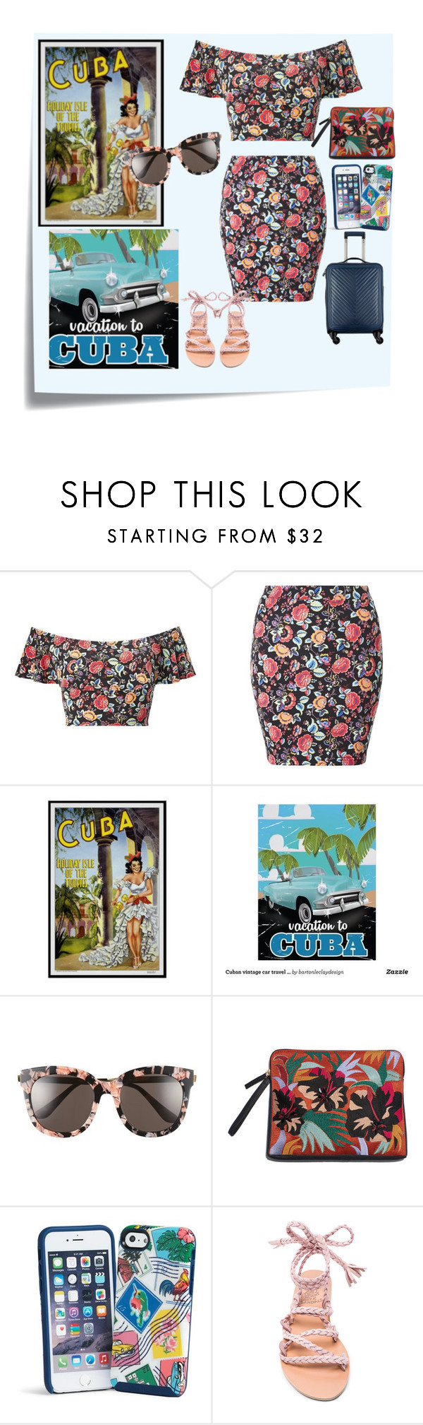 """pack and go : Cuba"" by nendeayesika ❤ liked on Polyvore featuring Post-It, Miss Selfridge, Gentle Monster, Vera Bradley and Ancient Greek Sandals"