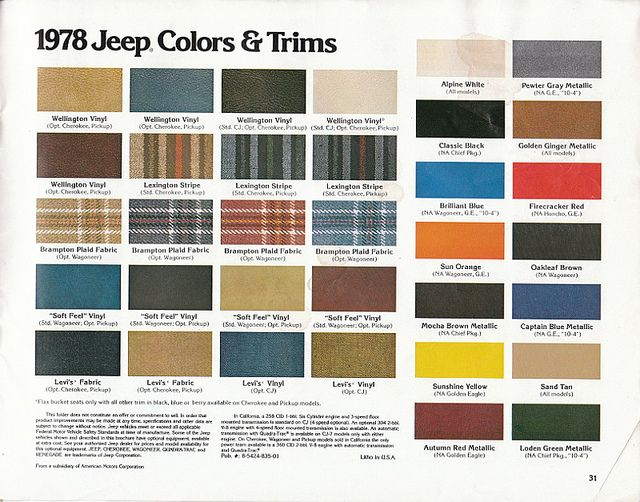 1978 Jeep Colors And Trims Jeep Cj7 Jeep Cj Jeep