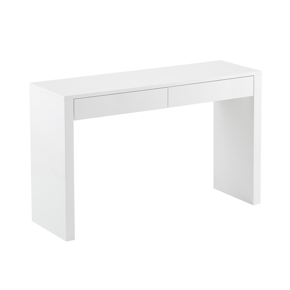 2-Drawer High Gloss Desk White