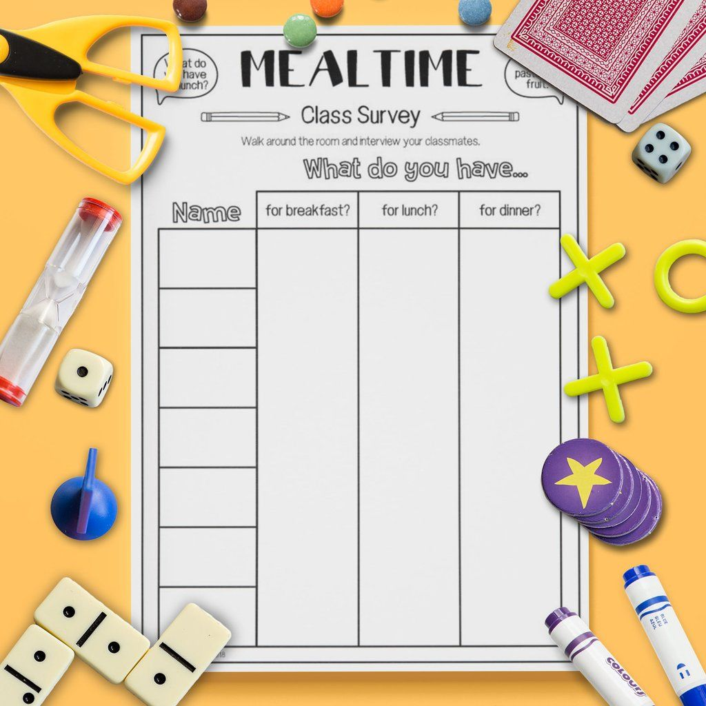 Mealtime Class Survey Speaking Activities Esl Kids School Subjects Speaking Activities Esl