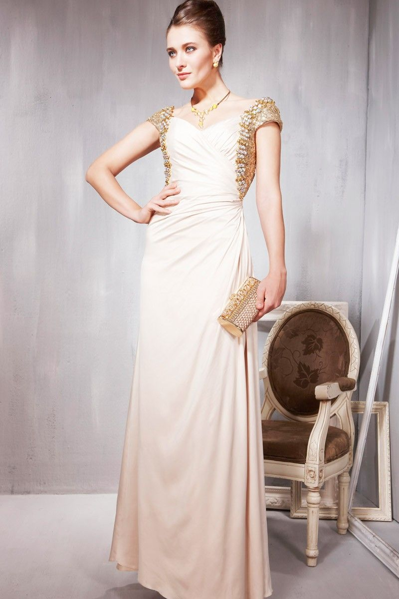 Apricot beaded straps figure flattering dress formal gownsdresses