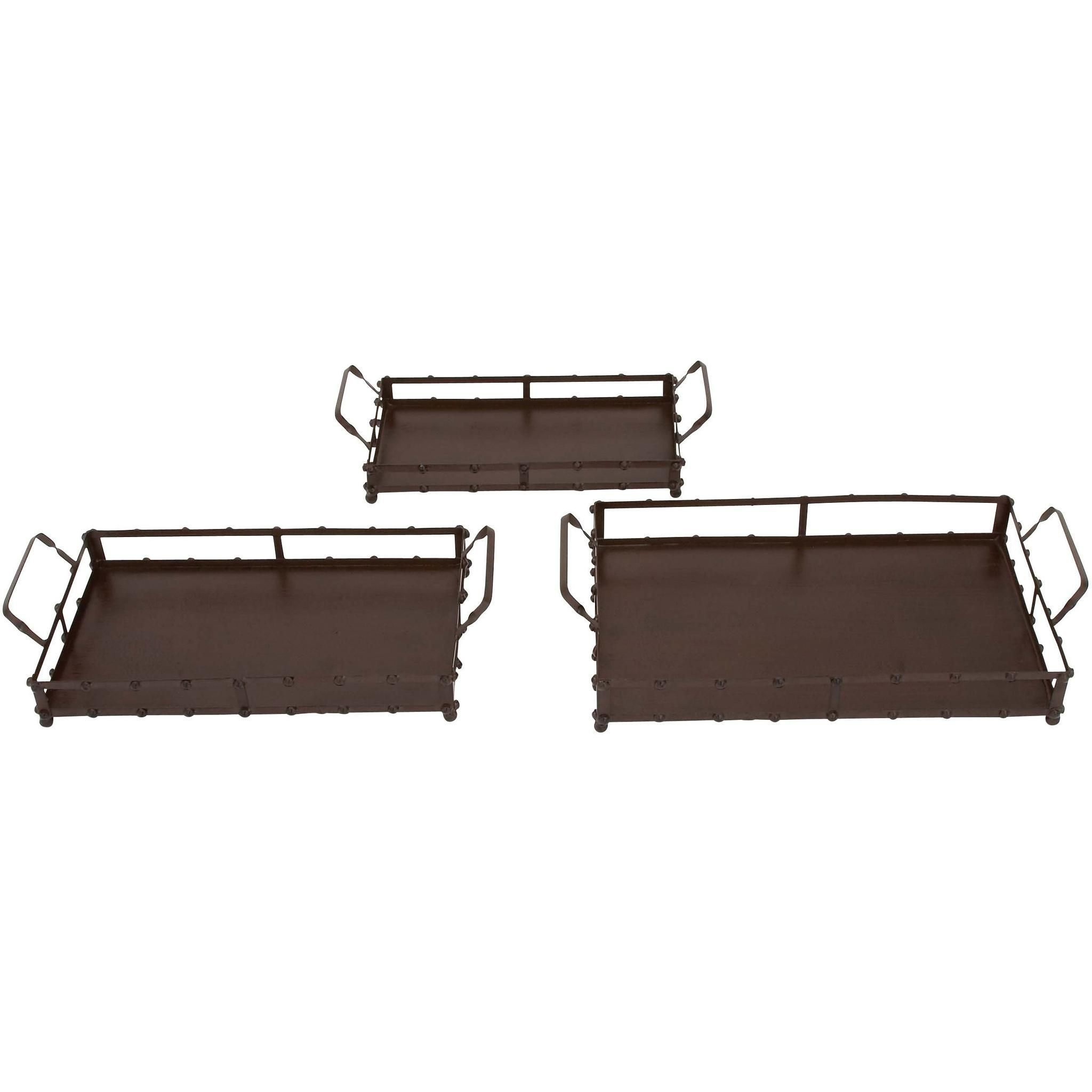 Set Of 3 Square Metal Trays