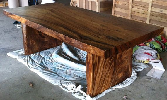 Live Edge Dining Table Reclaimed Single Slab Golden Acacia Wood