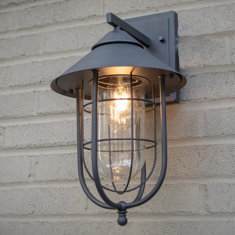 Home Decorators Collection Wisteria Collection 1 Light Sand Black Outdoor Wall Lantern Sconce With Clear Glass Shade House Exterior In 2019 Outdoor Ceiling Lights Wall Lights Outdoor Wall Lantern