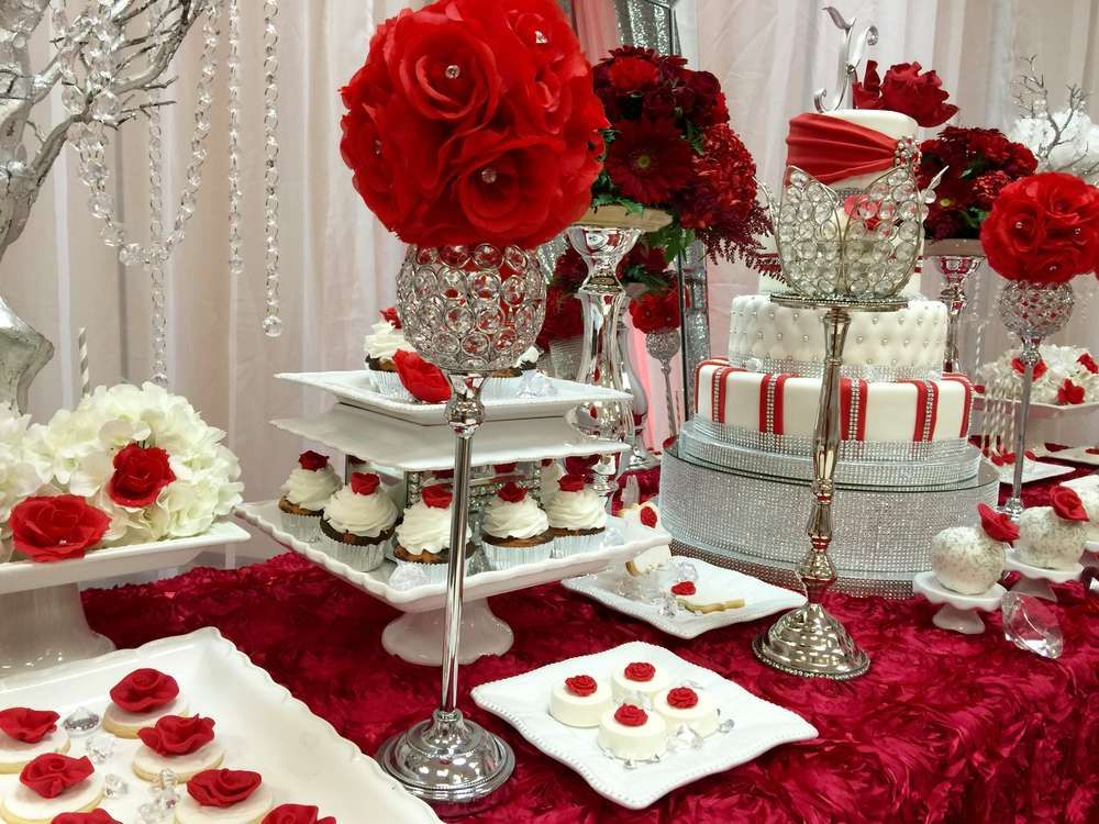 Diamonds Roses Quinceanera Party Ideas Photo 7 Of 17 Quince Decorations Quinceanera Decorations Candy Table Decorations