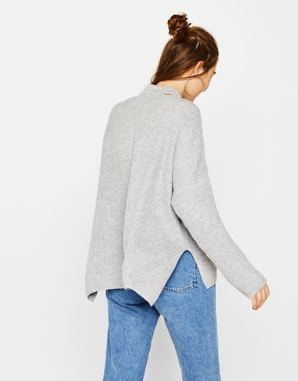 Jersey Cuello Perkins Con Abertura Punto Bershka Mexico Sweaters Pullover Fashion