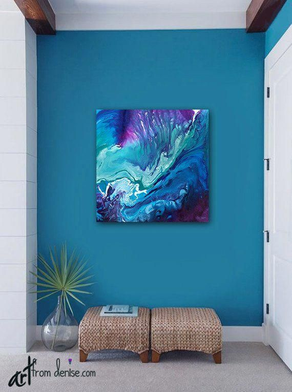 Large Abstract Canvas Wall Art Teal Purple Blue Wall Etsy Picture Wall Bedroom Bathroom Artwork Wall Decor Bedroom