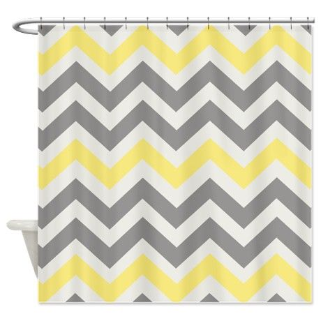 Gray Yellow Chevron Shower Curtain By K A Designs Yellow