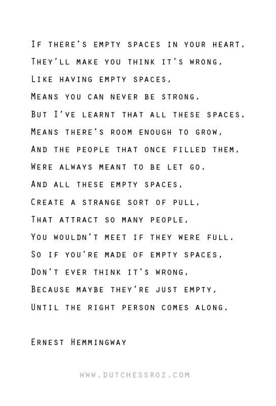 Charming Life Pattern Ernest Hemmingway Quote Empty Spaces Delectable Poems And Quotes About Life