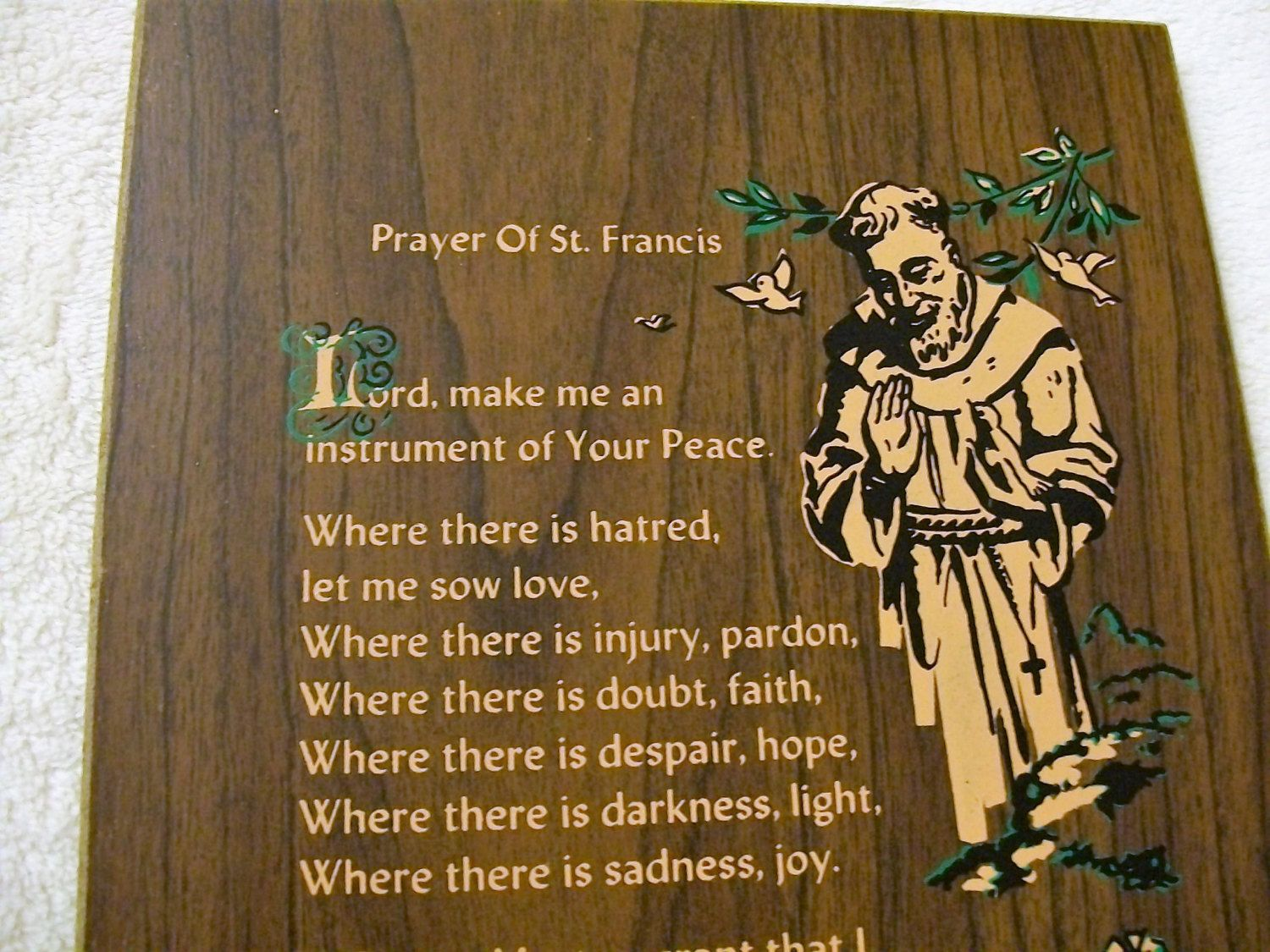 Prayer Of St Francis Vintage Saint Wall Plaque Religious Hanging By Vintagepluscrafts On Etsy