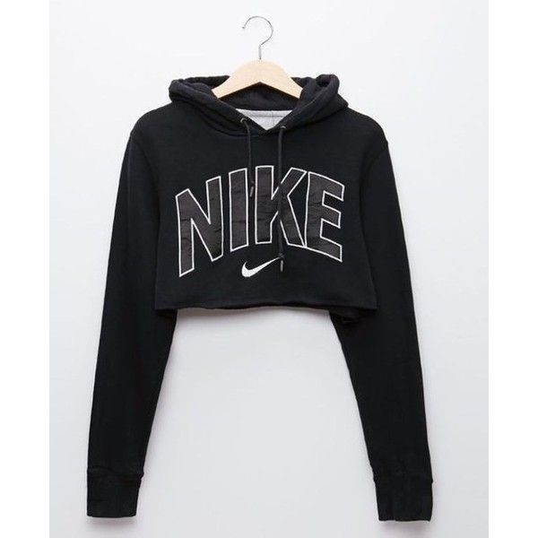 Sweater: nike crop nike black black cropped cropped hoodie nike ❤ liked on  Polyvore featuring