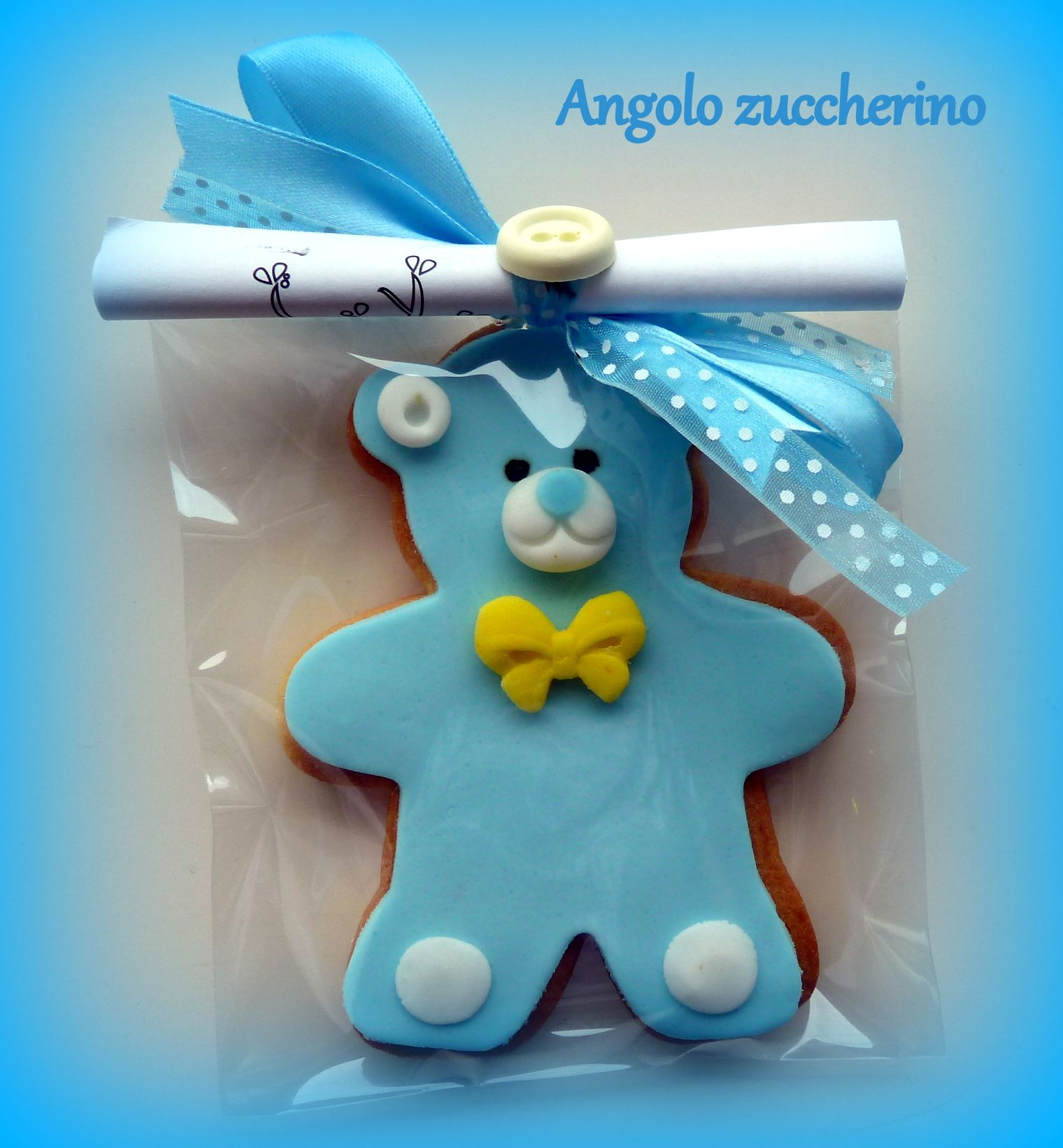 Biscotto al burro decorato in pasta di zucchero Orsetto celeste
