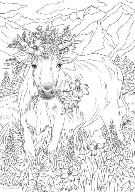 Cow in Flowers - Printable Adult Coloring Page from Favoreads (Coloring book pages for adults and kids, Coloring sheets, Coloring designs) #adultcoloringpages