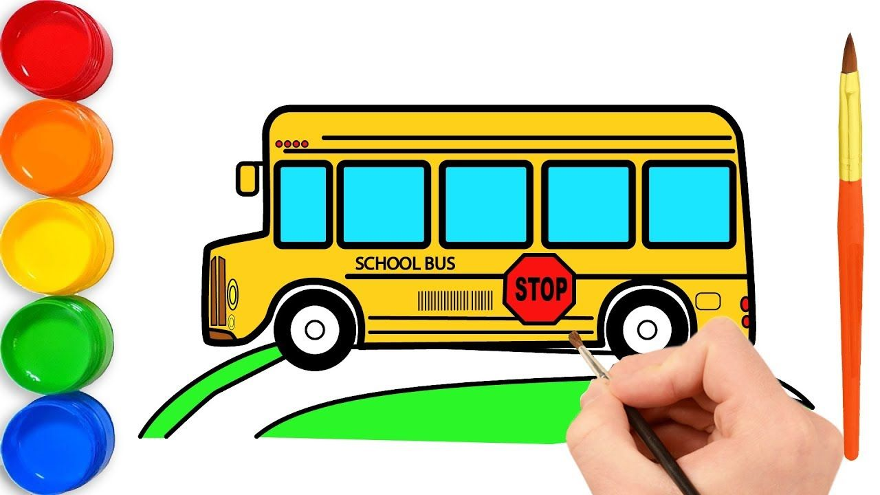 How To Draw School Bus For Kids And Coloring Page For Children