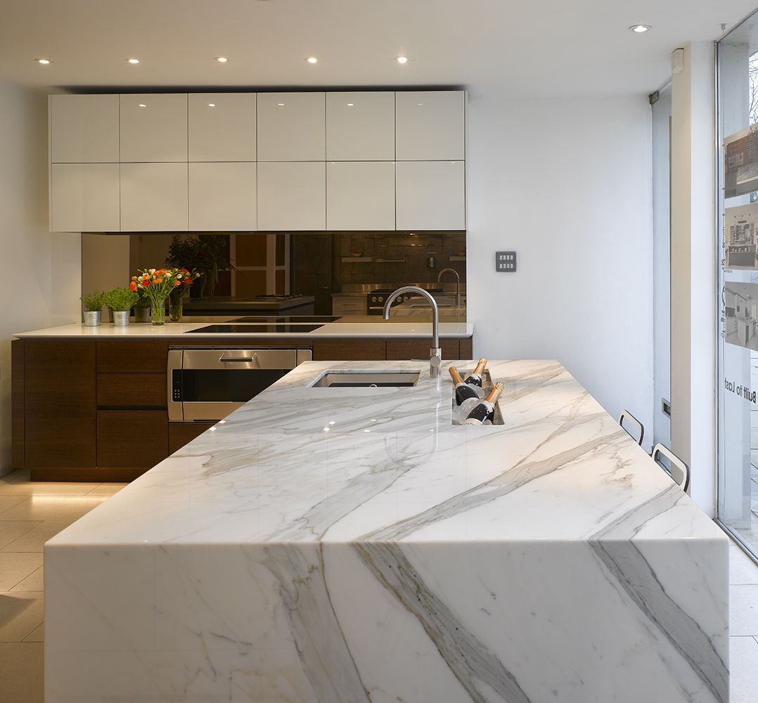 Stunning Kitchens: Stunning Carrera Marble Bespoke Kitchen Island With Inset