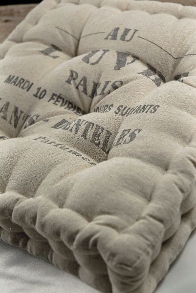 13 French Cafe Feed Sack Chair Cushions French Mattress Cushion Vintage Grain Sack French Mattress