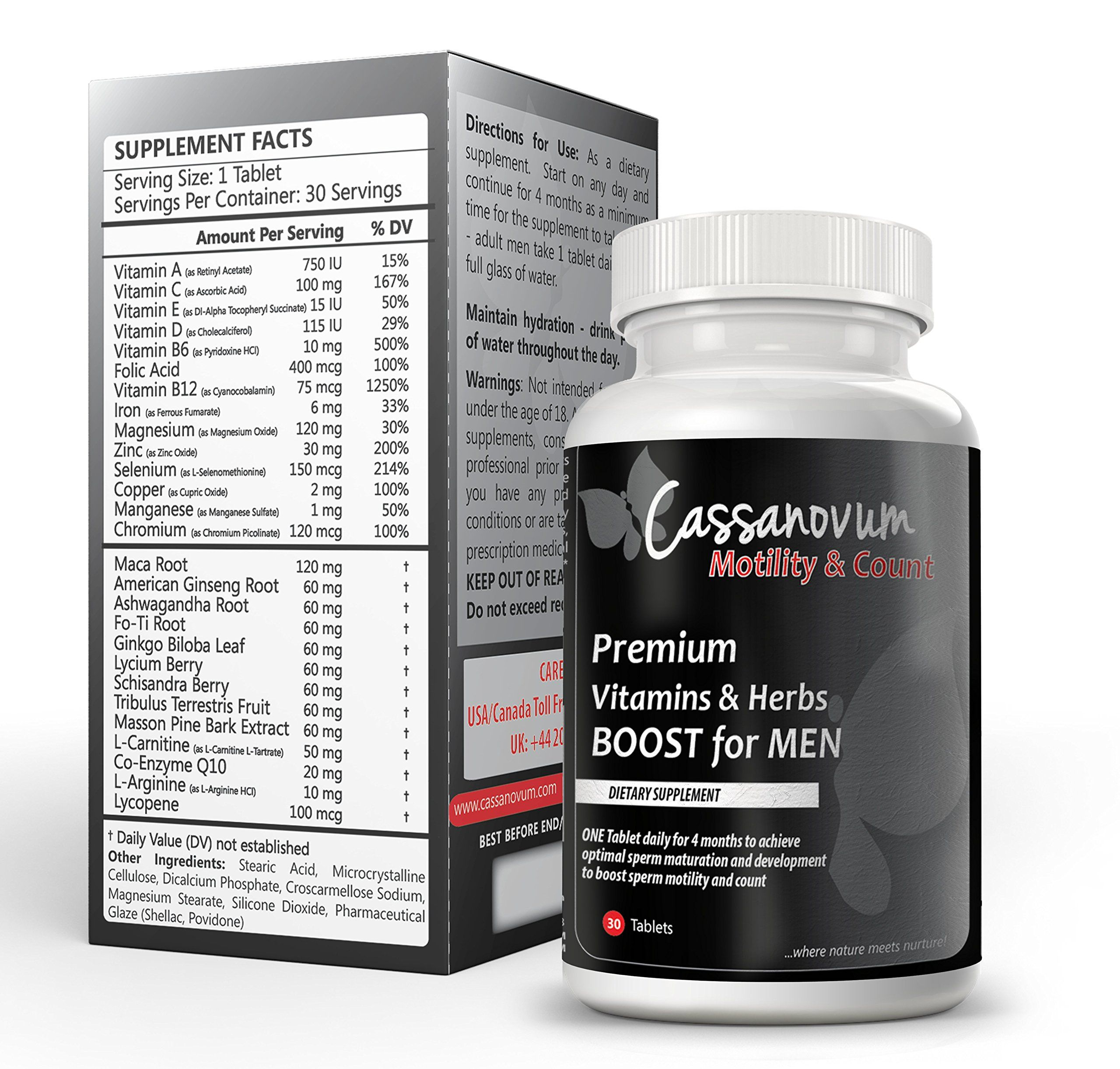 Cassanovum Motility And Count Premium Vitamins And Herbs Boost For Men Complete Spectrum Of