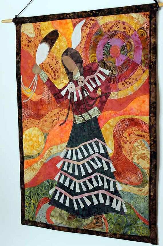 Native American Wall Hangings quilted wall hanging of native american jingle dress dancer