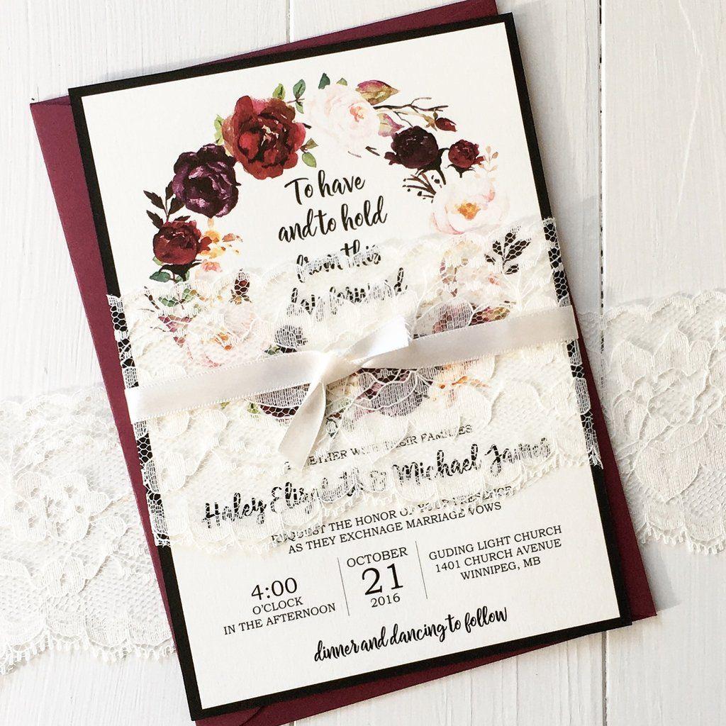 Marsala Floral Wedding Invitation | Elegant invitations, Floral ...