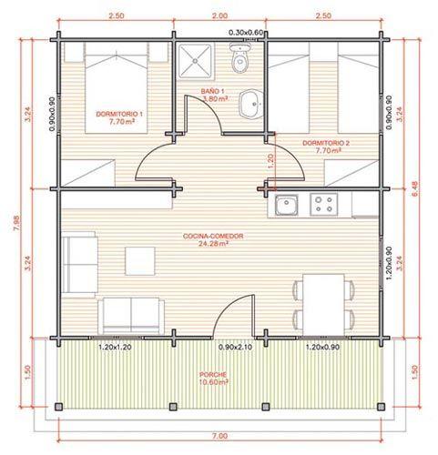 Plantas de casas (cabanas) Planos en 2018 House, House plans y - Plan Architecture Maison 100m2