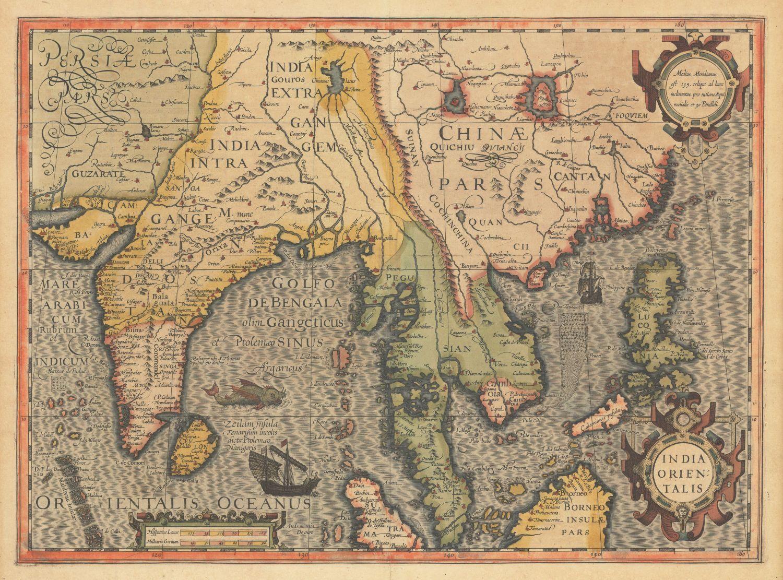 Decorative vintage world map india orientalis jodocus hondius decorative vintage world map india orientalis jodocus hondius 1606 gumiabroncs Image collections