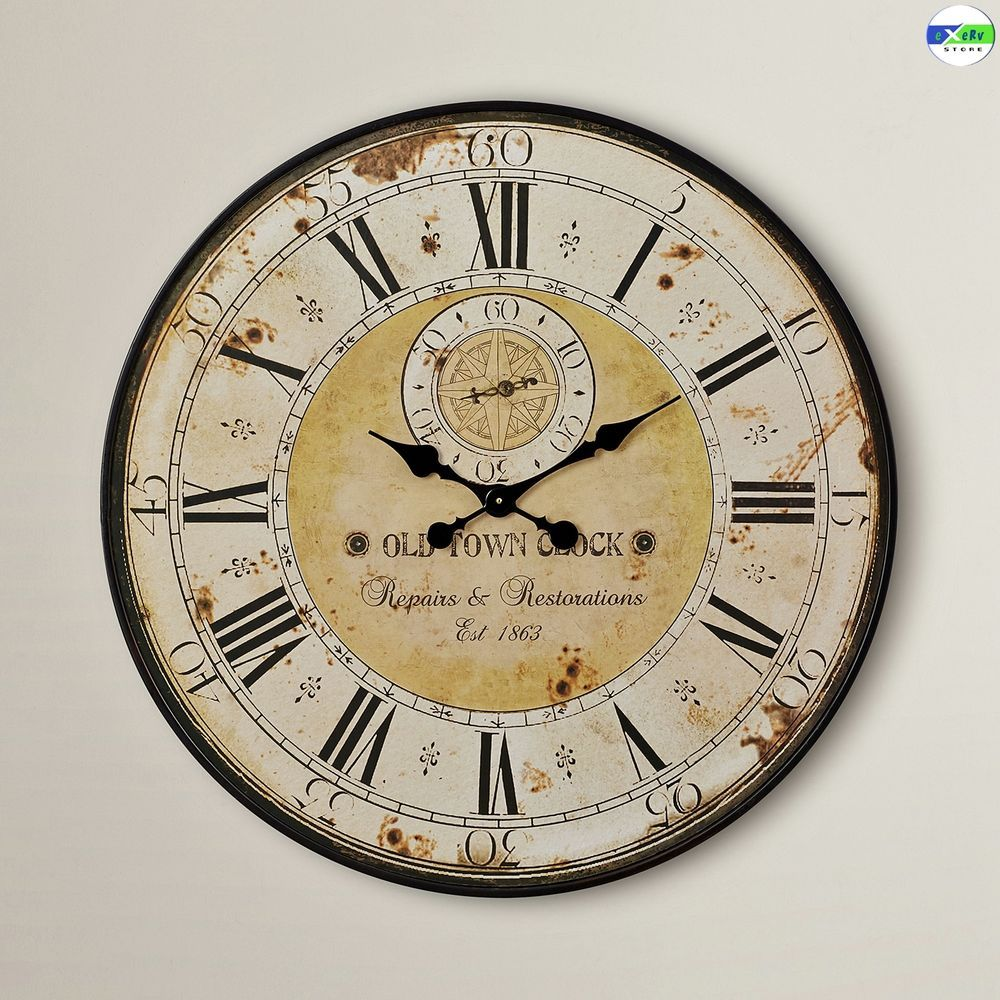 Vintage Round Wall Clock Rustic Antique Distressed Face Oversized